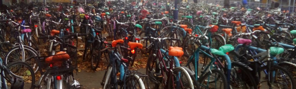 Parked bicycles in Oxford, UK